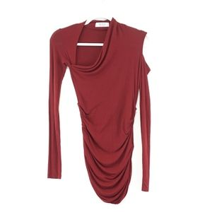 Bailey 44 Dark Red Long Sleeve Ruched Top